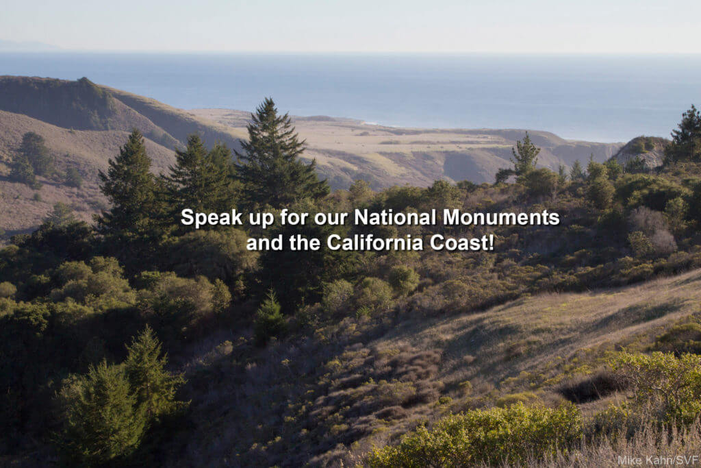 """Text: """"Speak up for our National Monuments and the California Coast."""""""